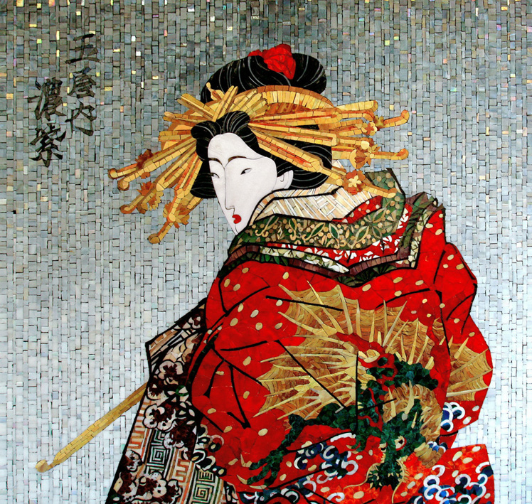 Mosaic picture Girl in a kimano with a dragon 5