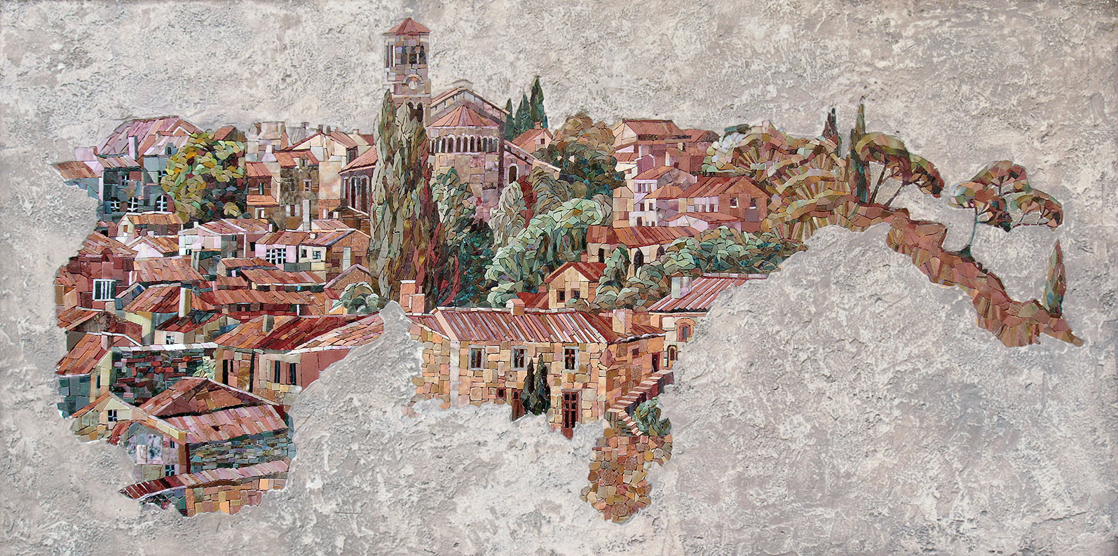 Mosaic panel Florence integrated into decorative plaster 3