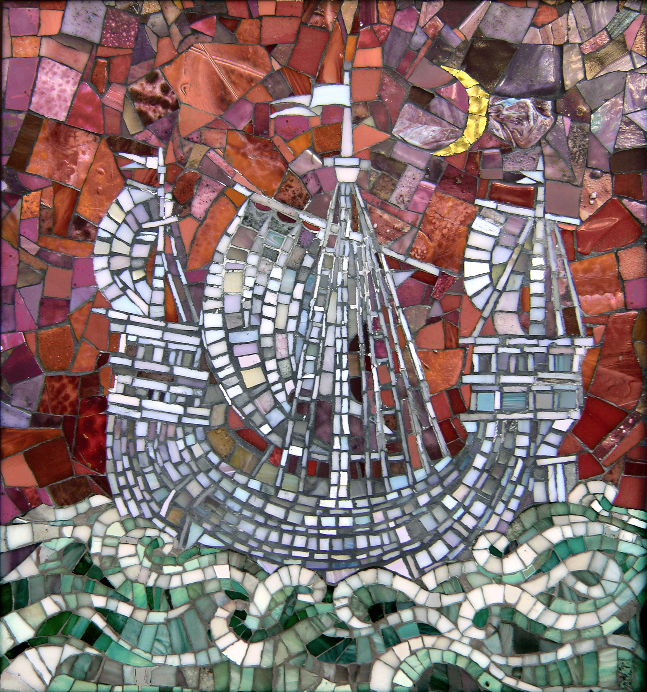 Mosaic panel White boat. Fairy mirage 3