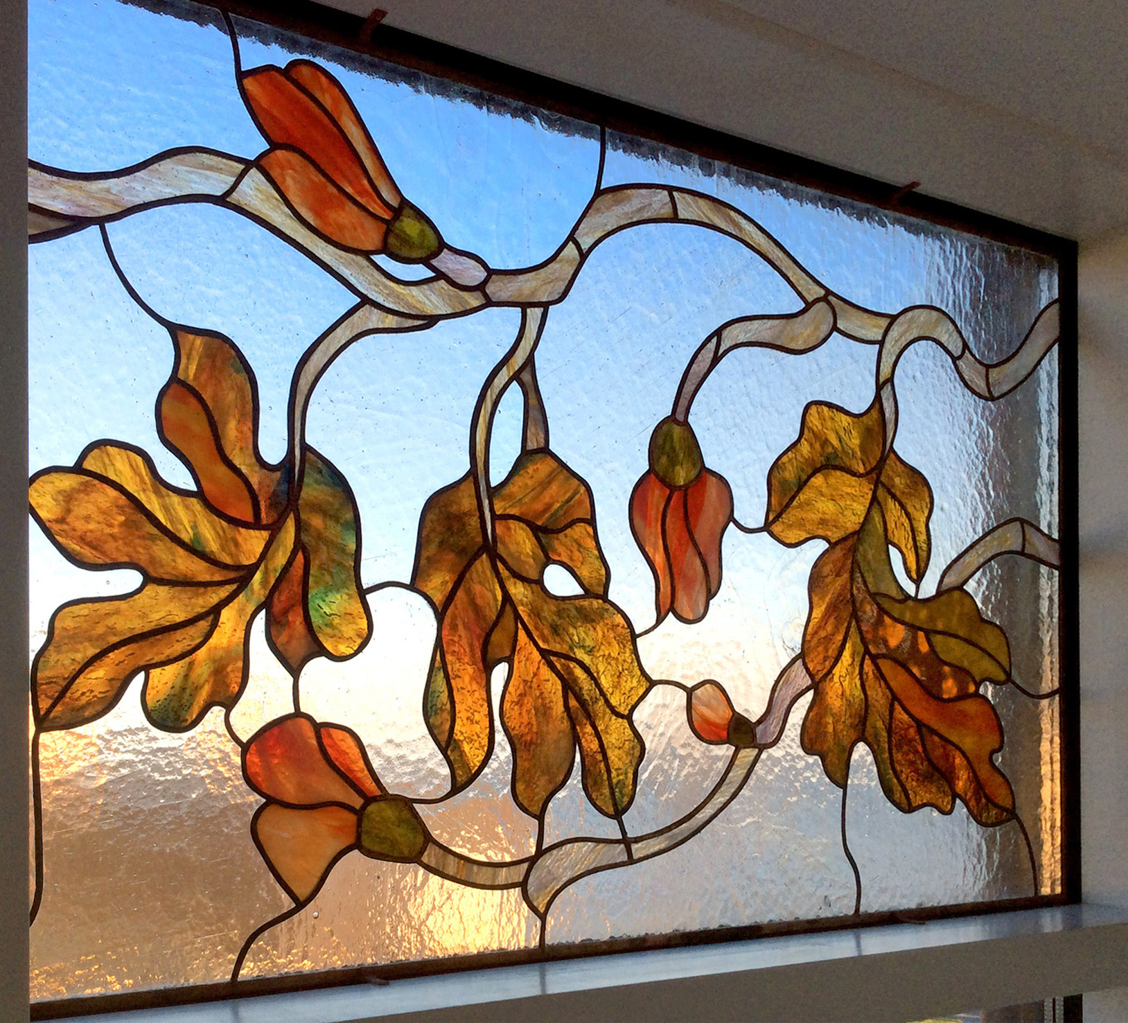 Stained glass window with leaves 2