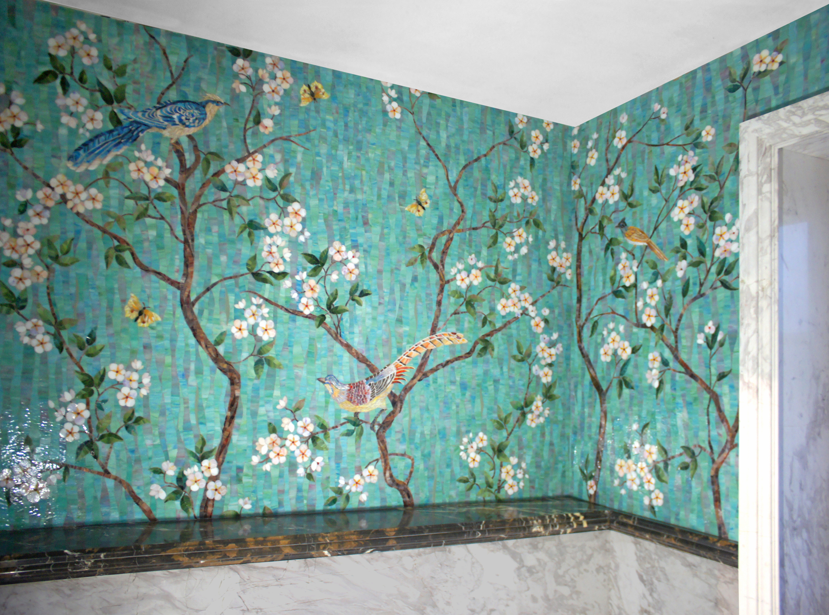 Mosaic panel Blooming tree with birds 10