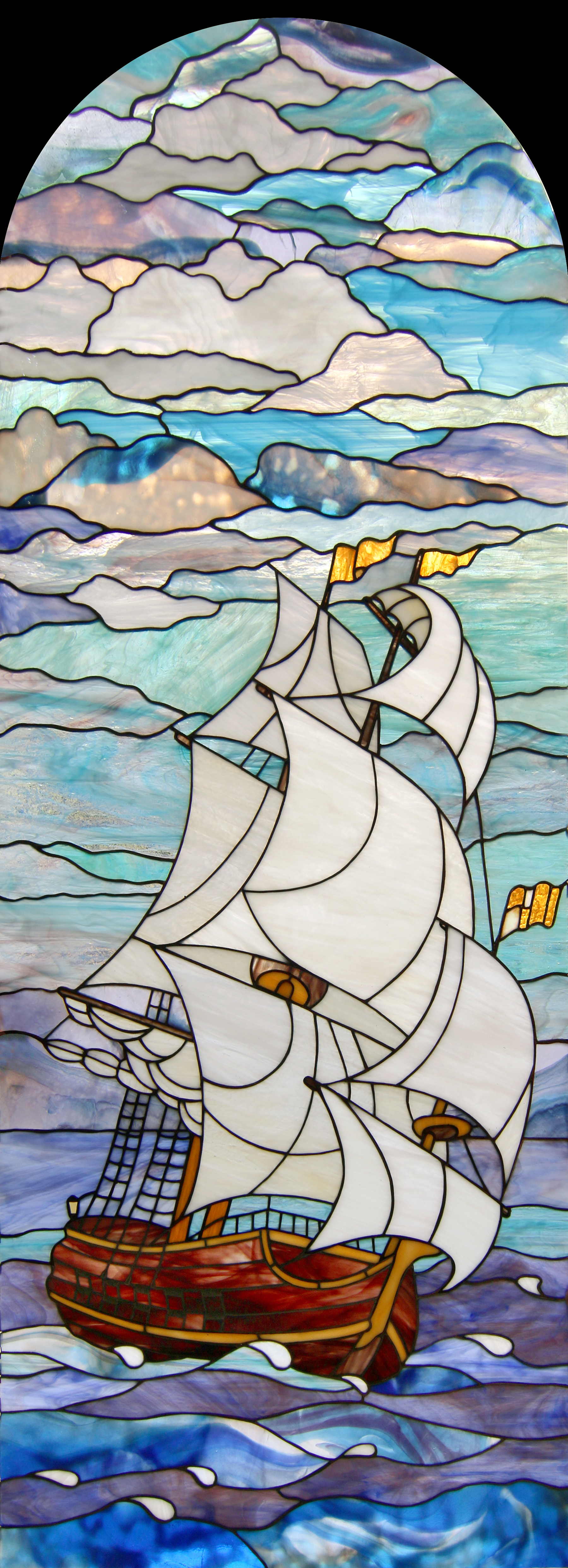 Tiffany Stained Glass Sailboat 3
